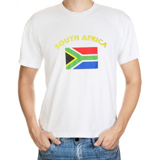 Shoppartners Wit t shirt Zuid Afrika heren Landen versiering en vlaggen