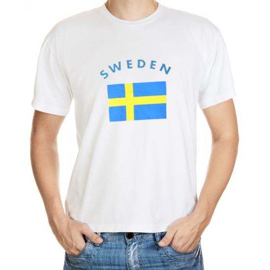 Landen versiering en vlaggen Shoppartners Wit t shirt Zweden heren