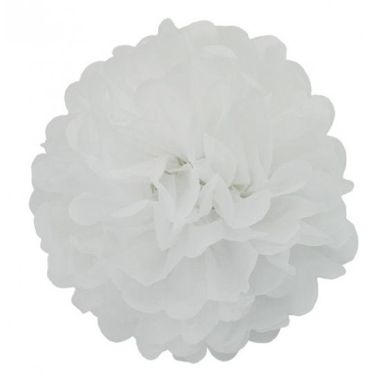 Witte decoratie pompom 25 cm