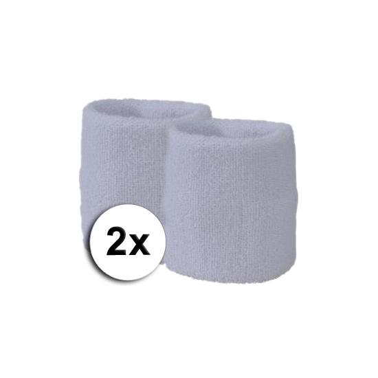 Witte pols zweetbandjes 2 stuks