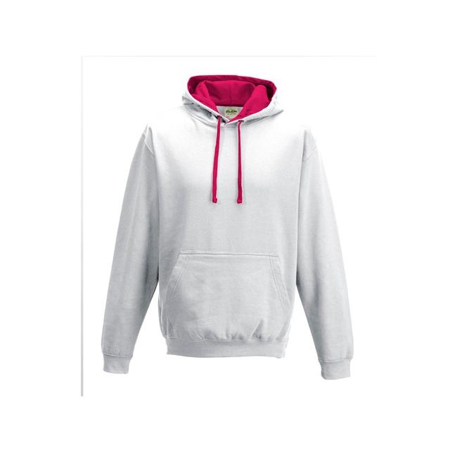 Bellatio Witte sweater met roze capuchon voor heren Truien en sweaters