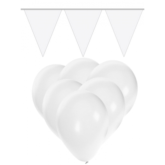 Witte versiering 15 ballonnen en 2 vlaggenlijnen