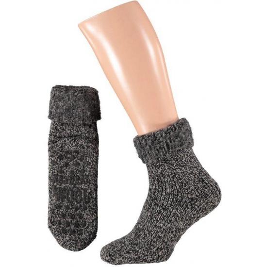 Wollen huis sokken voor dames zwart Bellatio Hoge kwaliteit