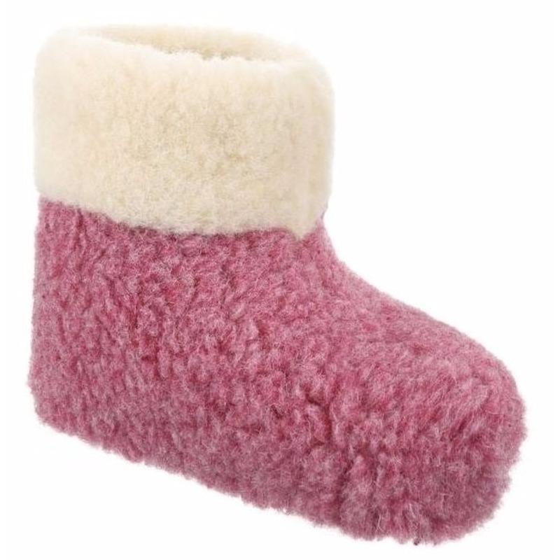 Wollen pantoffels roze voor dames Geen beste