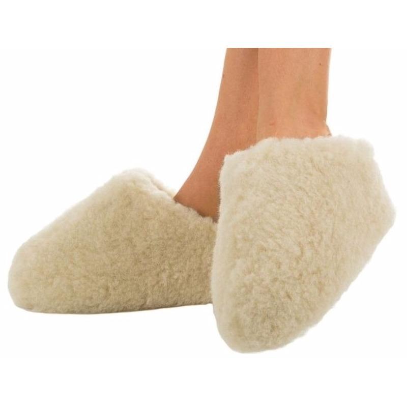 Sloffen en Pantoffels Wollen pantoffels wit voor dames