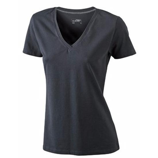 Zwart dames stretch t shirt met V hals James Nicholson T shirts en poloshirts