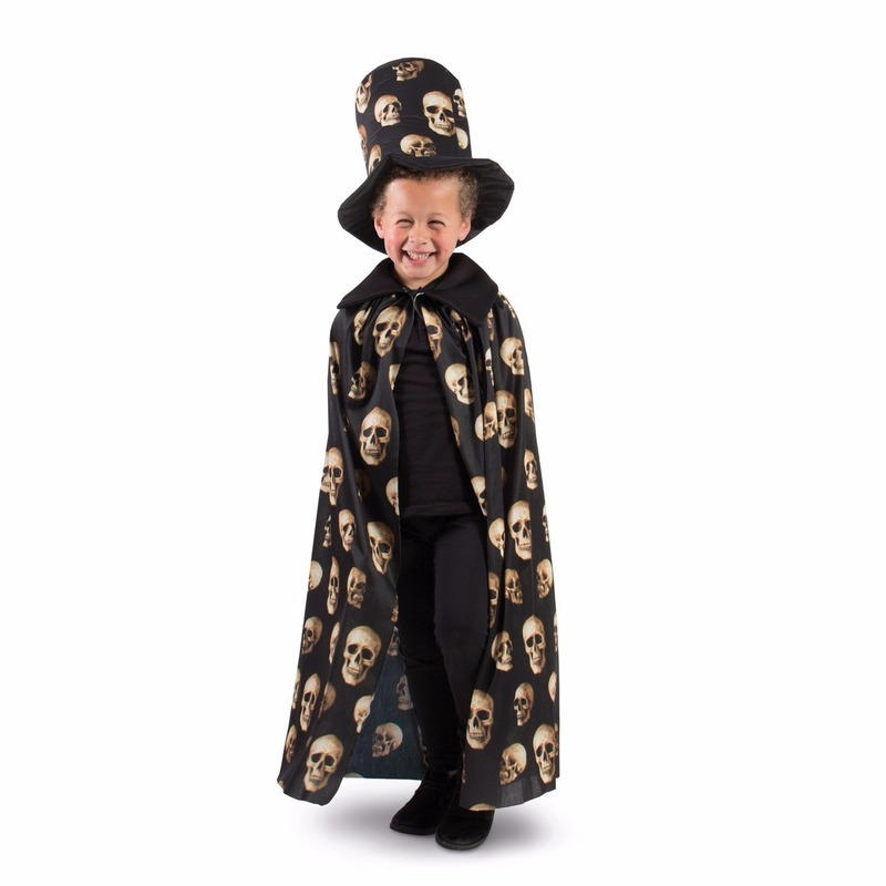 Zwarte cape met hoge hoed voor jongens
