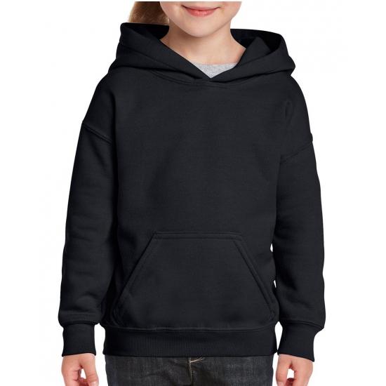 Zwarte capuchon sweater voor meisjes Gildan goedkoop online kopen