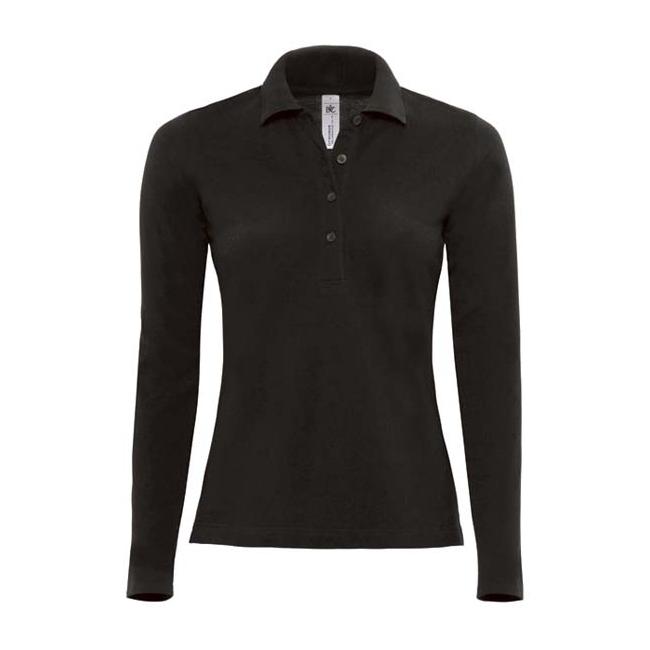 T shirts en poloshirts Zwarte dames poloshirt lange mouw
