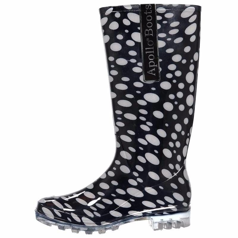 a160453b06d60c Zwarte dames regenlaarzen met stippen - Dames regenlaarzen ...