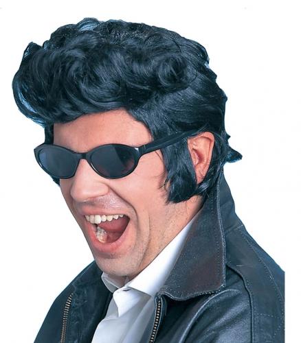 Zwarte Elvis pruik met bakkenbaarden