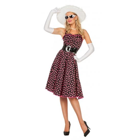 zwarte-fifties-jurk-met-roze-stippen-voor-dames