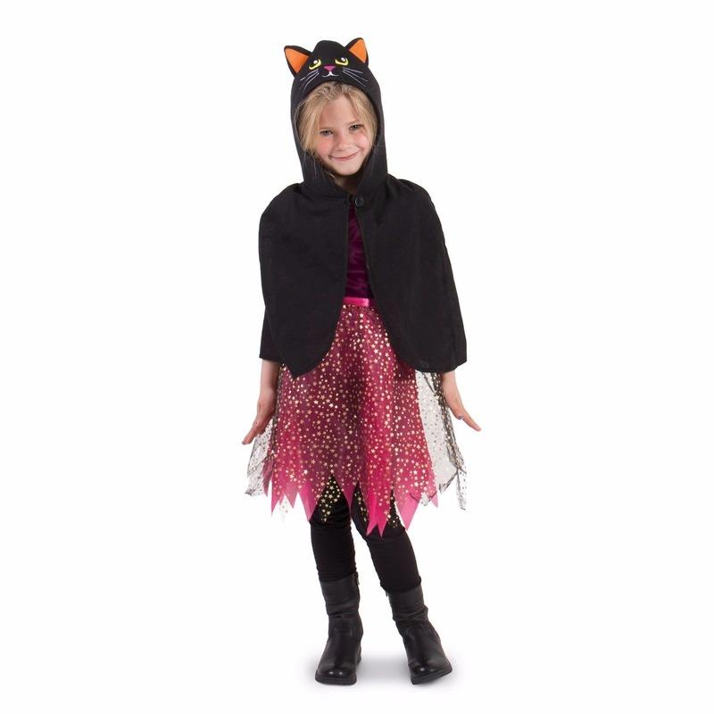Zwarte kat Halloween cape voor kinderen