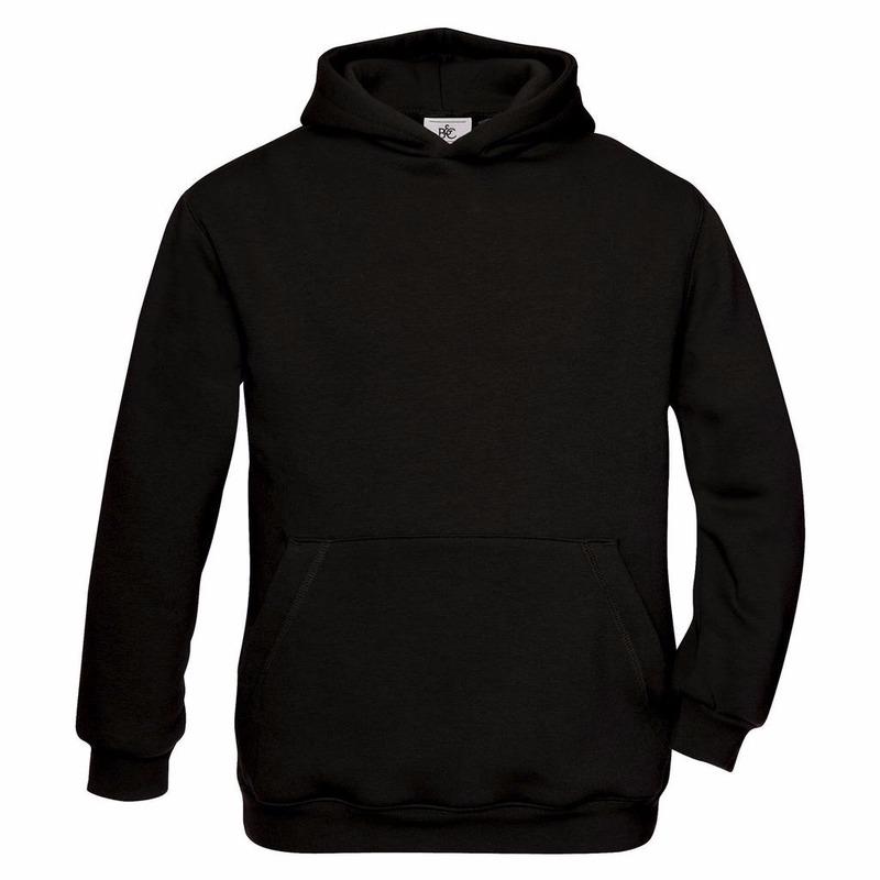 Truien en sweaters B C Zwarte katoenmix sweater met capuchon voor meisjes