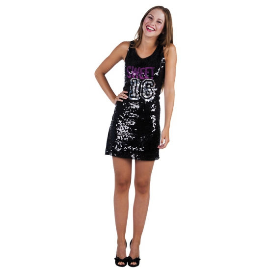 Zwarte Sweet 16 pailletten jurk