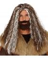 Bruine barbaren heren pruik en baard met grijze plukken