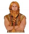 Luxe rode viking pruik met gevlochten baard