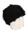 Pruik korte zwarte afro krulletjes