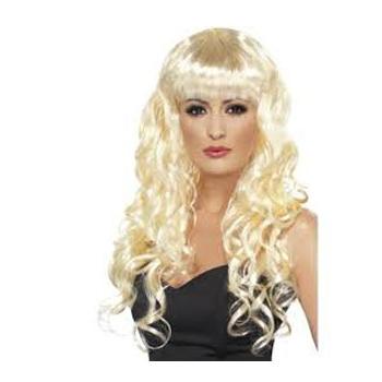 Blonde damespruik met krullen