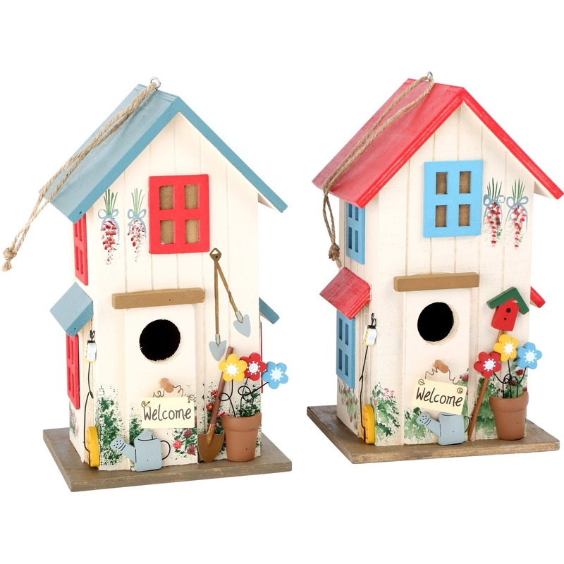 Vogelhuisjes met gekleurde daken  2 stuks