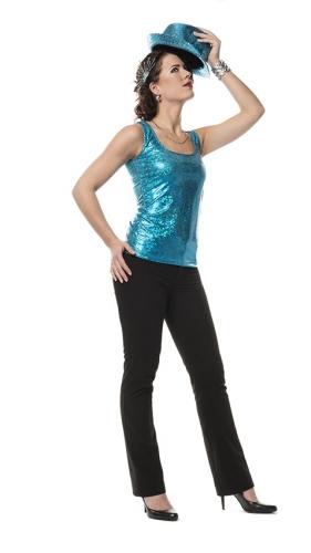 Holografische top turquoise voor dames