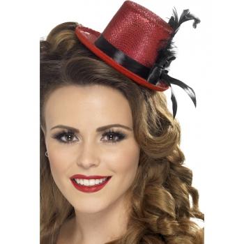 Rode mini hoge hoed met veer
