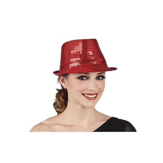 Rode trilby hoed met pailletten