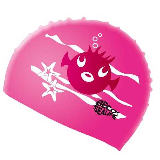 Roze badmuts voor kinderen met vissen