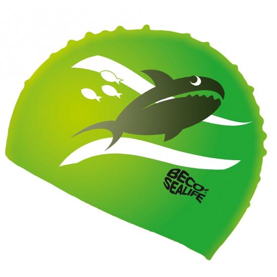 Groene badmuts voor kinderen met vissen