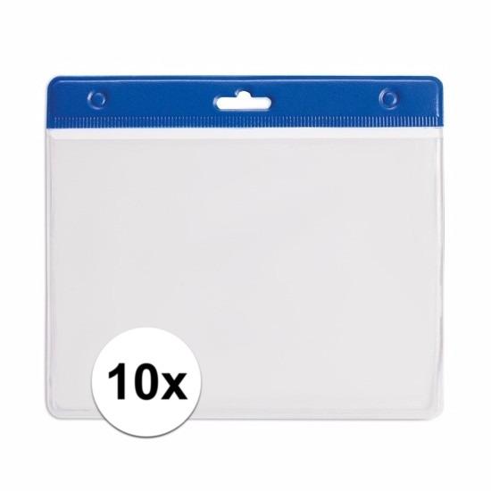 10 badgehouders blauw 11,5 x 9,5 cm