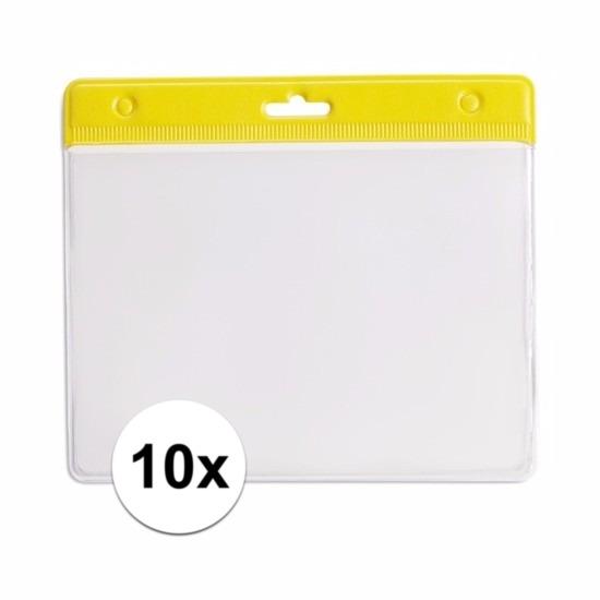 10 badgehouders geel 11,5 x 9,5 cm