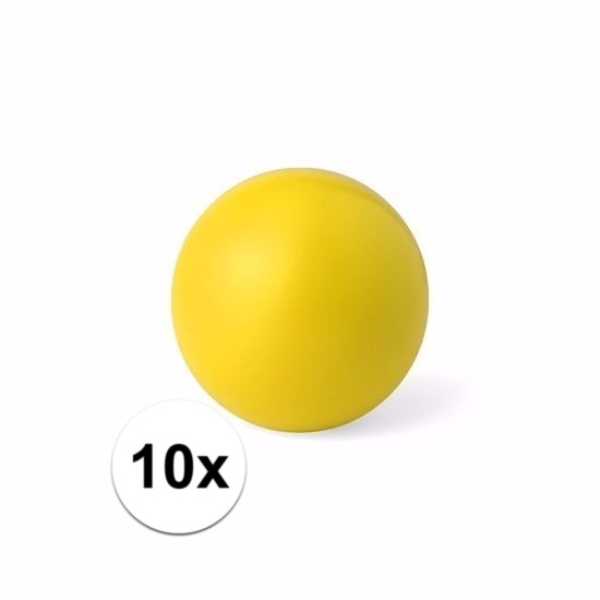 10 gele anti stressballetjes 6 cm