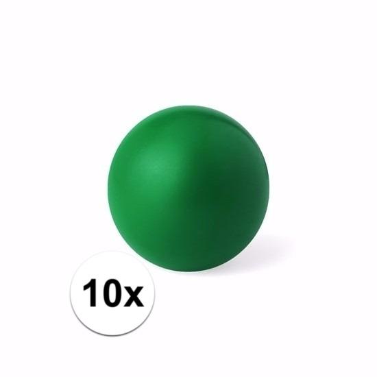 10 groene anti stressballetjes 6 cm