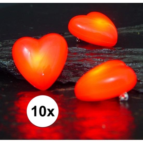 10 hartjes broches met knipperlicht