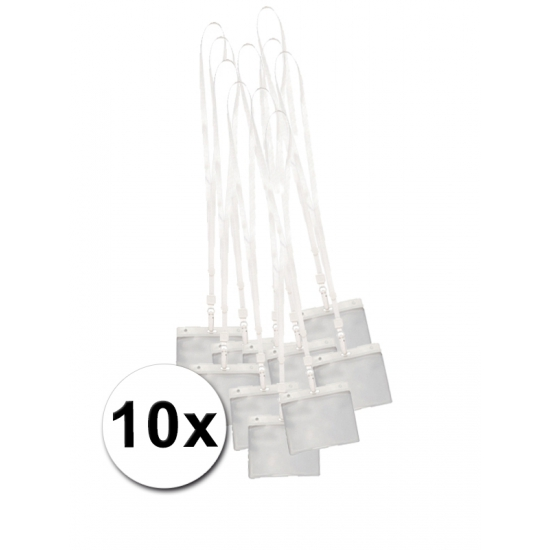 10 Keycords incl. badgehouders wit 11,2 x 58 cm