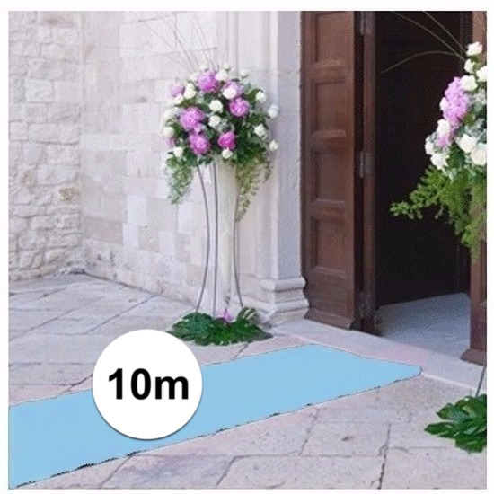 10 meter lichtblauwe loper 1 meter breed