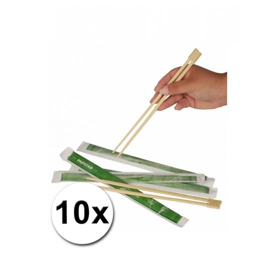 10 paar Eetstokjes van bamboe hout