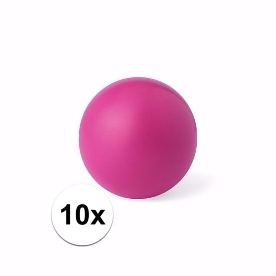 10 roze anti stressballetjes 6 cm