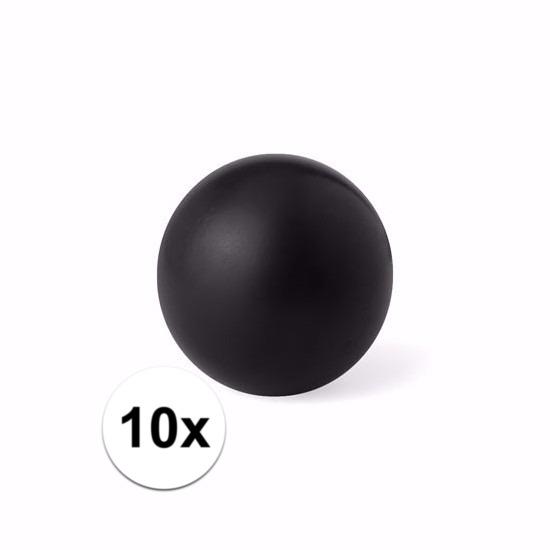 10 zwarte anti stressballetjes 6 cm