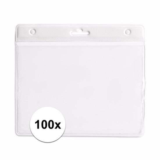 100 badgehouders wit 11,5 x 9,5 cm