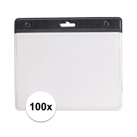 100 badgehouders zwart 11,5 x 9,5 cm