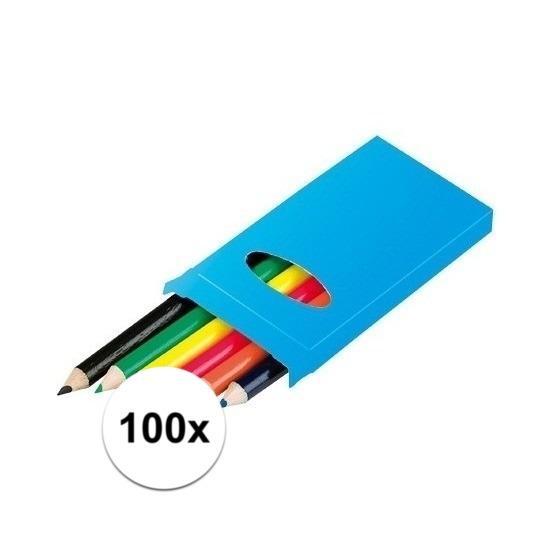 100x Doosjes kleurpotloden met 6 potloden