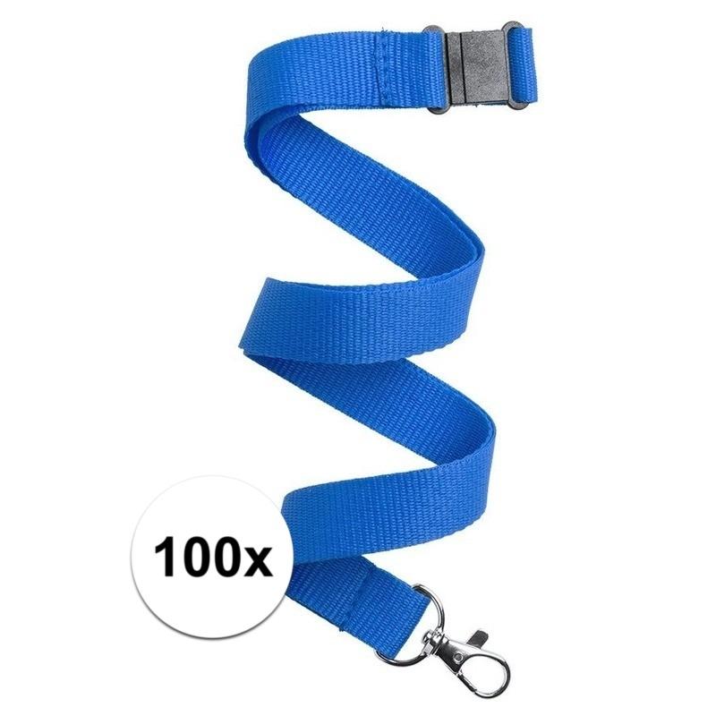 100x Keycord/lanyard blauw met sleutelhanger 50 cm