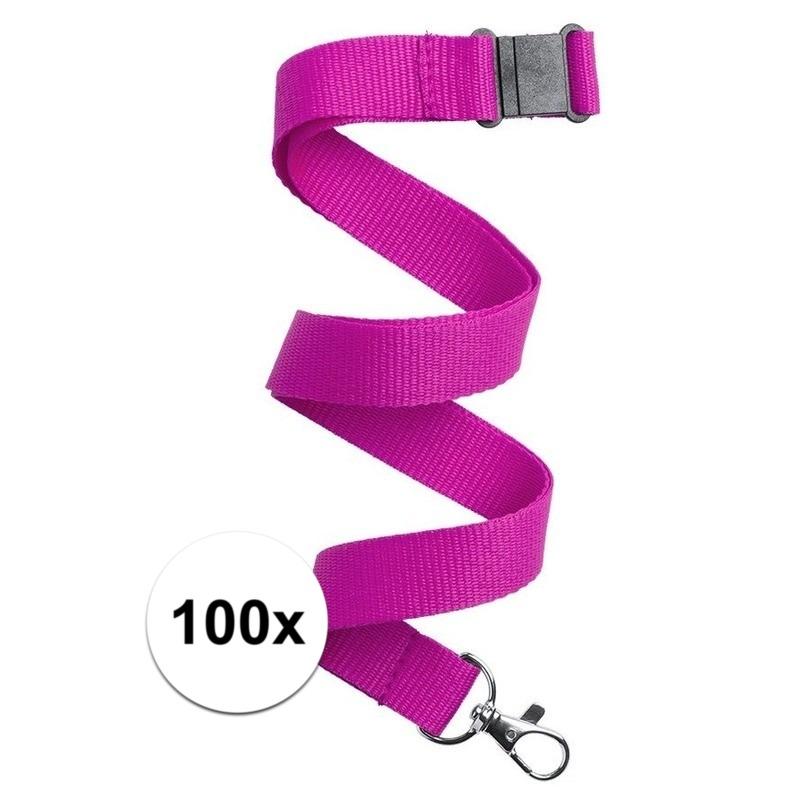 100x Keycord/lanyard fuchsia roze met sleutelhanger 50 cm