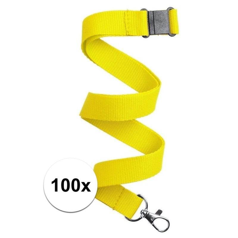 100x Keycord/lanyard geel met sleutelhanger 50 cm