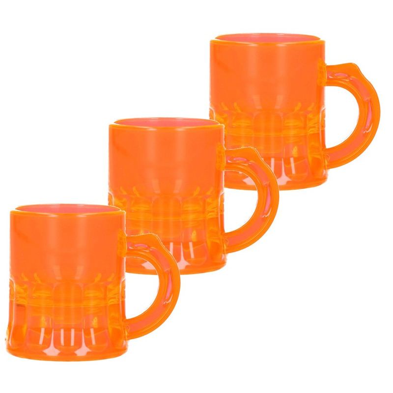 100x Shotglaasjes fluor oranje met handvat 2,5cl