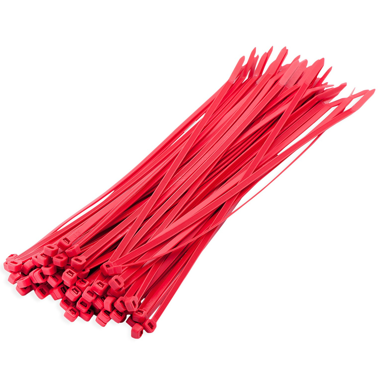 100x stuks kabelbinder - kabelbinders nylon rood 10 x 0,25 cm