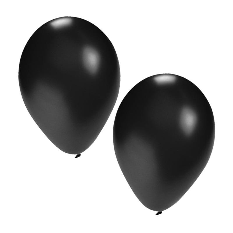 100x stuks zwarte party ballonnen van 27 cm