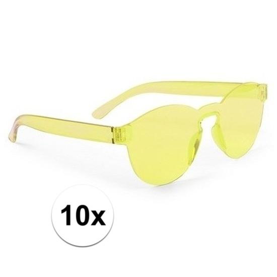10x Gele verkleed zonnebril voor volwassenen