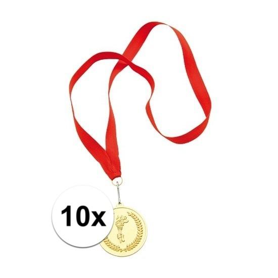 10x Gouden medailles eerste prijs aan rood lint